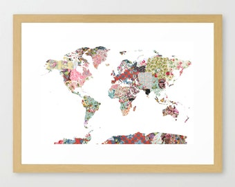 WORLD MAP, flowers composition, roses, Giclee Fine Art, Poster Print