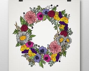 Flower bouquet-Digital illustration-Download file-Printable-Print-Hand drawing-Home decor-Wall art-Digital art-Original art