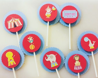 Circus Themed Cupcake Toppers