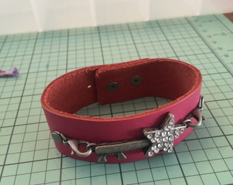 Leather Pink Bracelet with silver accent..