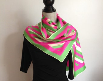 Very Long Vintage 100% Silk Scarf;  Pink, Green and Cream Scarf Signed Burmel; Handrolled