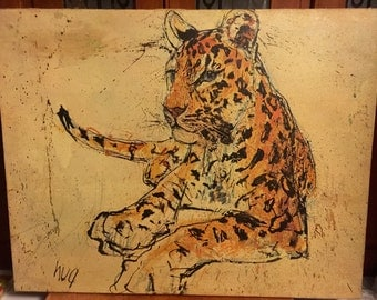 Vintage Leopard Print on Canvas by Fritz Adolph Hug