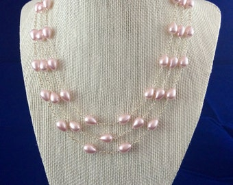 Three Strand Pink Fresh Water Pearl Necklace Sterling Silver