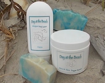 Day at the Beach, Spa Gift Set, Whipped Body Lotion, Sugar Scrub, Cold Process Soap, Mango Butter, Avocado Oil, Ocean Scent