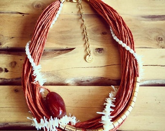 White Coral and Natural Fiber Necklace