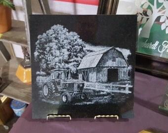 Laser engraving John Deere Farm scene on Black granite