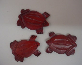 Three Flat Brown Wooden Frog Beads