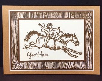 Pair of Cowboy Note cards - Rodeo - Bronc - Western - Handmade