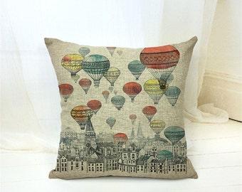 Sale - Hot Air Balloon Decorative Pillow Case
