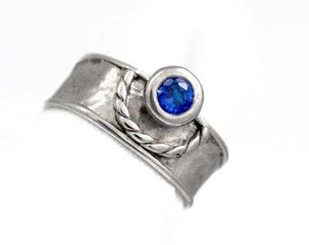 Ring Silver Blue Zircon MEDIEVAL