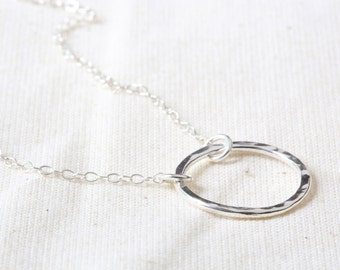 Silver Circle Necklace - Silver Hoop Necklace - Silver Circle Pendant - Hammered Circle Necklace.