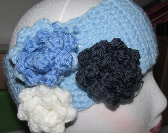 Crocheted headband with roses
