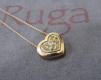 Yellow Gold heart with diamonds