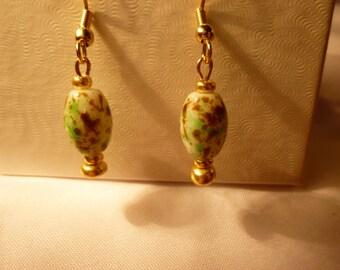 Green lamplight Bead Earrings
