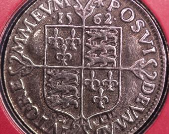 REPRODUCTION Tudor Coins Henry VII & Elizabeth I in information folder [HECPS]