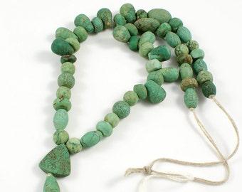 Turquoise Bead Strand from Yemen with Triangular  Focal Stone - TQB007