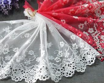 "5 yard 18cm 7.08"" wide gray/red mesh embroidery lace trim trims ribbon L22K167 free ship"
