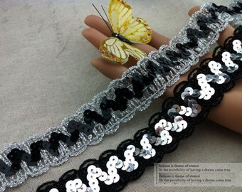 "10 yard 3cm 1.18"" wide black/silver  sequins dress tapes lace trim ribbon 968kfj4 free ship"