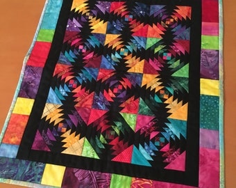 17 by 21 Multi-Colored Pineapple Quilt
