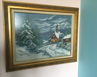 Winter Landscape Completed and Framed Cross Stitch