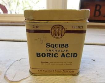 Vintage Squibb Granular Boric Acid Tin