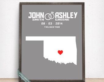 Oklahoma Map Print, Engagement Gift, Wedding Print, Anniversary Gift, Custom Map Print, Customized Gifts, Office Decor, Christmas Gift