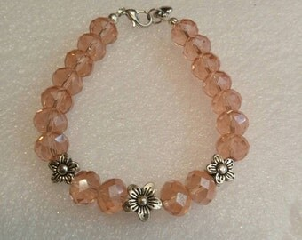 Salmon Pink and Antique Silver Flowers Beaded Bracelet