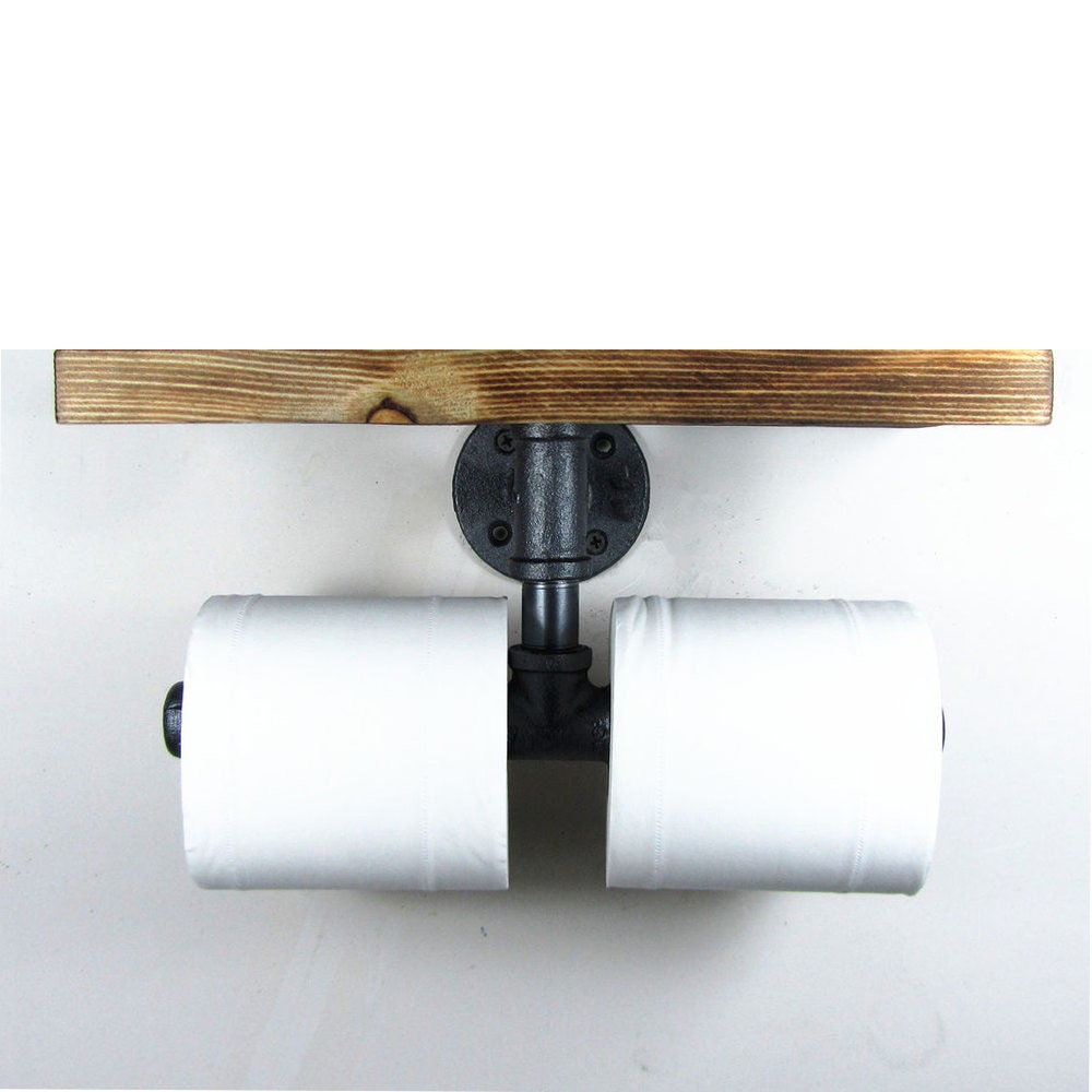 industrial double toilet paper holder with top shelf rustic. Black Bedroom Furniture Sets. Home Design Ideas