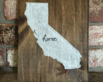 California Home Wood Sign