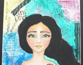 Whimsical Girl, Mixed Media Art,