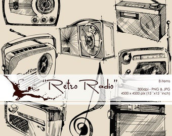 Retro Radio - Vintage Design Elements, Digital Clipart, Calligraphy Black Silhouette Clipart, PNG, Graphic Design Elements in Inks.
