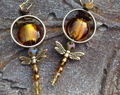 Outlander Fans! Dragonfly Amber Earrings. Wedding rings, standing stones, dragonflies & amber. Gift booklovers, your own Sassenach.
