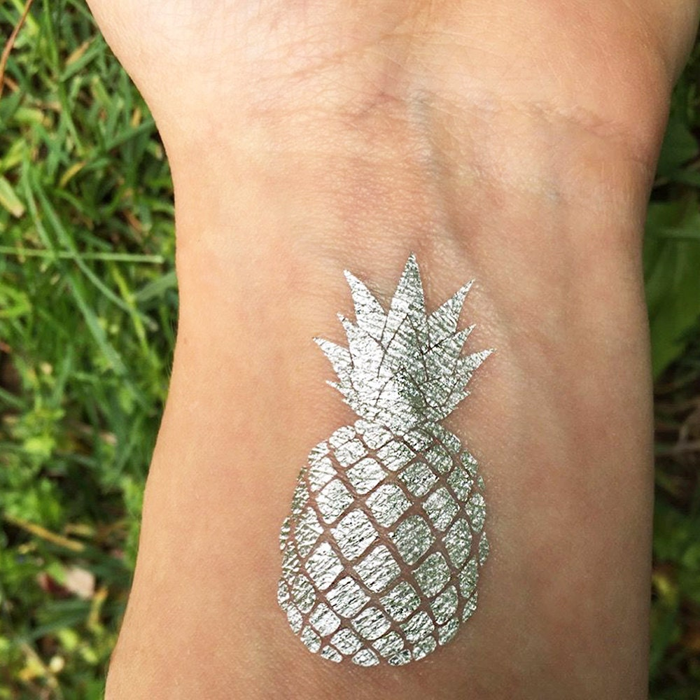 Silver pineapple tattoo temporary tattoos white gold foil for Gold foil tattoo
