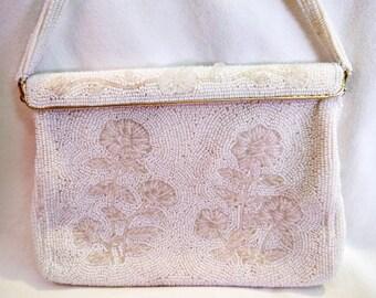 Vintage Beaded Floral Pattern Handbag, Cream