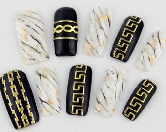 Versace, Versace, Versace Marble & Gold Gel Press on Nails