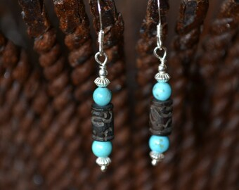 Carved Bone, Magnesite and Sterling Silver Dangle Earrings