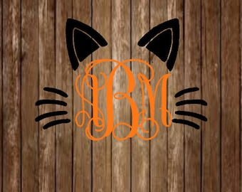 Cat Ear Monogram Decal-Ear Monogram Decal-Halloween Decal-Meow-Cat Decal-Monogram Decal-Yeti Decal-Laptop Decal-Window Decal-Car Decal