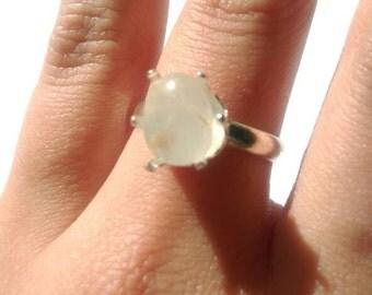 White Stone Ring- Handmade