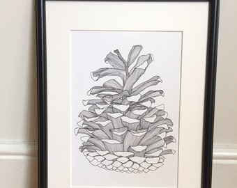 Wall art, black and white art, art print, Pine Cone Treasure, A4 print, pen and ink, forest illustration, interior decor, line drawing,
