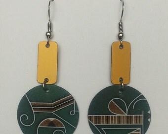 Upcycled Card Earrings - Green & Gold Starbucks