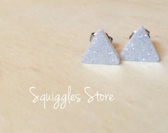Hypoallergenic Stud Earrings with Titanium Posts - Triangle Silver Shimmer - Sensitive Ears