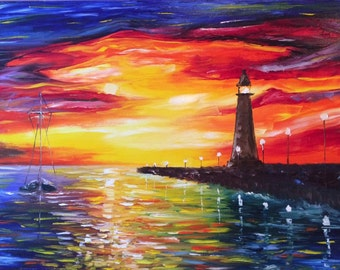 "Sunset Seascape - light house - Large Painting - Wall Art- oil painting  ""Waves of change"" oil painting by Greg Gilreath"