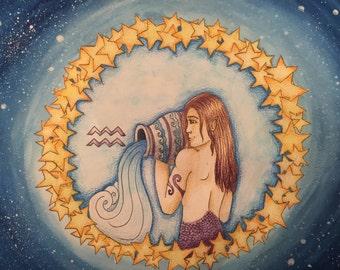 Fantasy painting: zodiac aquarius