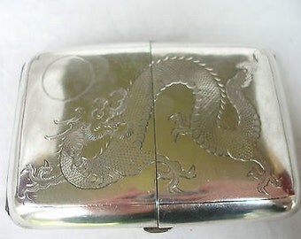 Beautiful Antique Chinese Silver Cigerette Case with double opening - 1890