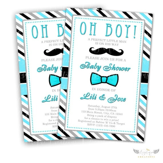 Mustache Little Man Invitations & Blank Thank You Card to match