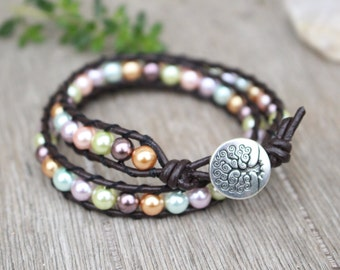 Leather Wrap Bracelet Double Layer Pastel Pearls