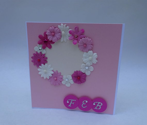Greeting Cards - Handmade February Monthly Card with Flowers