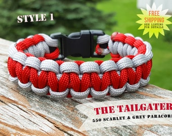 The Tailgater Scarlet Red and Grey 550 Cobra Knot Paracord Survival Bracelet with Black Buckle