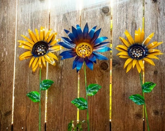 Metal Garden Flowers, Trio of yellow and blue garden stake flowers, metal garden art *set of 3*