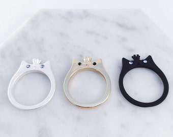 Cat Prince~ meow! Black silver gold cats; cat rings, silver ring, gold ring, black ring; cat accessories